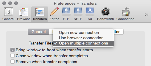 Preferences Multiple connections for transfers