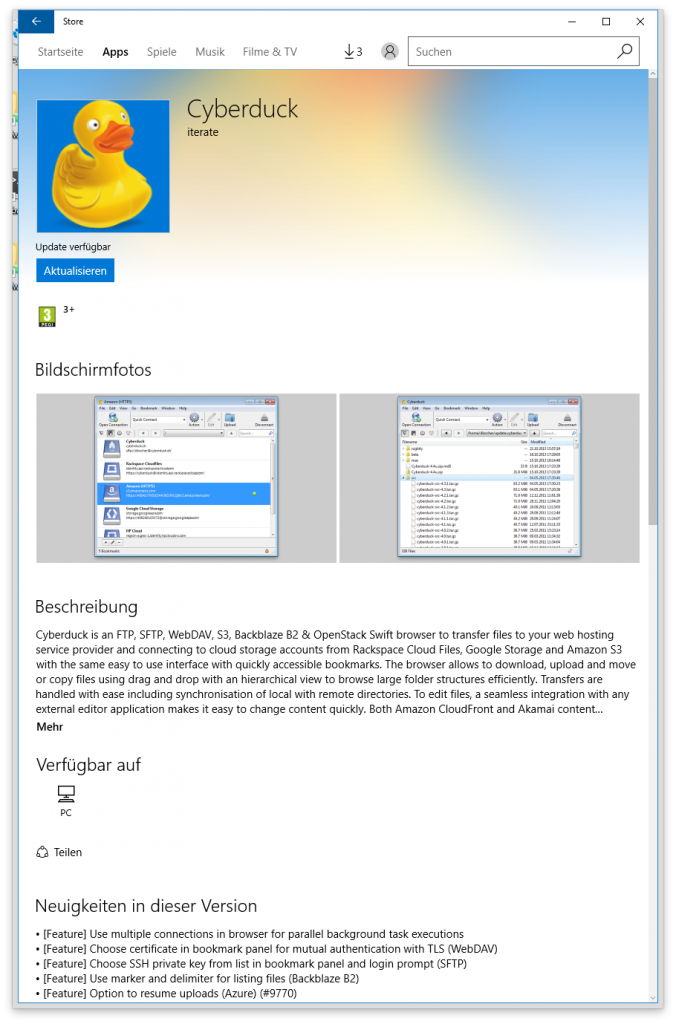 Cyberduck in Windows App Store